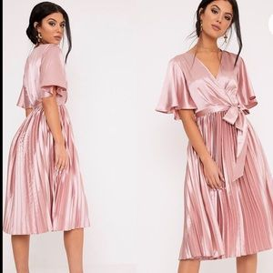 Mairee Dusty Pink Satin Pleated Midi Dress